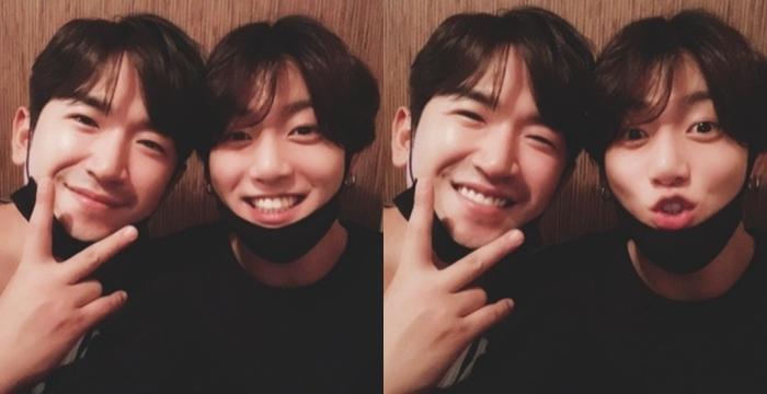 Jungkook full of joy when seeing his 'hyung' Minwoo (Shinhwa)
